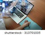 top view of businessman hand... | Shutterstock . vector #313701035