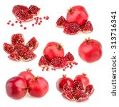 pomegranate isolated on white... | Shutterstock . vector #313716341