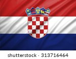 croatia flag blowing in the... | Shutterstock . vector #313716464