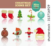 christmas set   icons in... | Shutterstock . vector #313716929