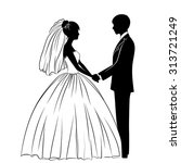 silhouettes of the bride and... | Shutterstock .eps vector #313721249