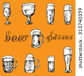 hand drawn different glasses of ... | Shutterstock .eps vector #313740359