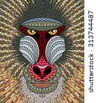 Mandrill Monkey Head. Artistic...