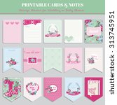 vintage flowers card set   for... | Shutterstock .eps vector #313745951