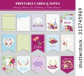 vintage flowers card set   for... | Shutterstock .eps vector #313745969