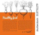 hand drawing vector vegetarian... | Shutterstock .eps vector #313751279