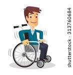 man in wheelchair. vector flat...   Shutterstock .eps vector #313760684