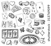 hand drawn casino collection... | Shutterstock .eps vector #313769099