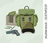 military ammunition  helmet ... | Shutterstock .eps vector #313769219