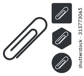 paperclip icon set  monochrome  ...