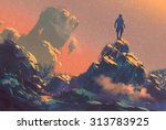 man standing on top of the hill ... | Shutterstock . vector #313783925