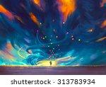 child holding balloons standing ... | Shutterstock . vector #313783934