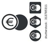 euro coin icon set  monochrome  ...