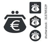euro purse icon set  monochrome ...