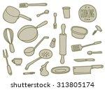 kitchen utensils grey set ... | Shutterstock .eps vector #313805174