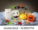 halloween decoration on table ...   Shutterstock . vector #313805744