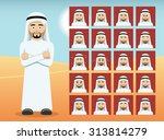arab man cartoon emotion faces... | Shutterstock .eps vector #313814279