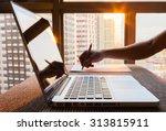 office setting early morning.  | Shutterstock . vector #313815911