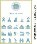 landmark icons set vector  | Shutterstock .eps vector #313820141