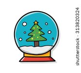 christmas crystal ball doodle | Shutterstock .eps vector #313820324