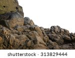 Big rock on isolated white...