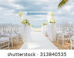 chair setting for wedding on... | Shutterstock . vector #313840535