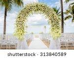 wedding flowers setting on the...   Shutterstock . vector #313840589