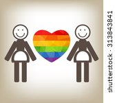 gay women couple and rainbow... | Shutterstock .eps vector #313843841