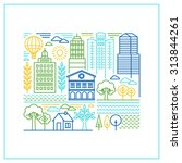 vector linear city illustration ...   Shutterstock .eps vector #313844261