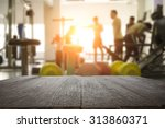 fitness gym and wooden table