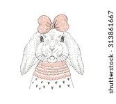 Fashion Portrait Of Cute Bunny...