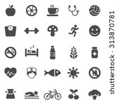 healthy black icons set.vector