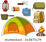 camping set with tent and... | Shutterstock .eps vector #313875179