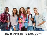 happy college students looking... | Shutterstock . vector #313879979