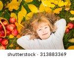 Happy Child Lying On Fall...