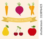 set of vegetables and fruits...   Shutterstock .eps vector #313896425