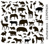 vector set of black animals and ... | Shutterstock .eps vector #313909634