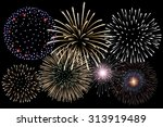 realistic  fireworks background ... | Shutterstock .eps vector #313919489