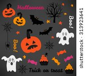 halloween greeting card with... | Shutterstock .eps vector #313923641