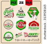 set of pizzeria logo template... | Shutterstock .eps vector #313928165