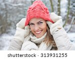Smiling Woman In Winter Puttin...