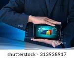 business man showing online... | Shutterstock . vector #313938917