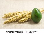 wheat ears and green egg... | Shutterstock . vector #3139491