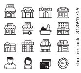 Shop Building Icon Set