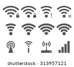 set of vector wi fi and... | Shutterstock .eps vector #313957121