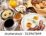 breakfast with fried eggs ... | Shutterstock . vector #313967849