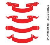 red ribbons  label banner... | Shutterstock .eps vector #313968821