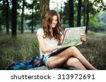 young caucasian female with... | Shutterstock . vector #313972691