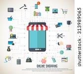 online shopping   smart phone... | Shutterstock .eps vector #313989065