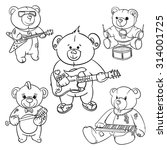 rock and roll teddy bear for... | Shutterstock .eps vector #314001725